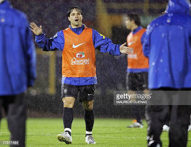 Brazilian player Diego gestures during a training session at the Nemesio Camacho stadium in Bogota Colombia Brazil will face Colombia next 14 October...