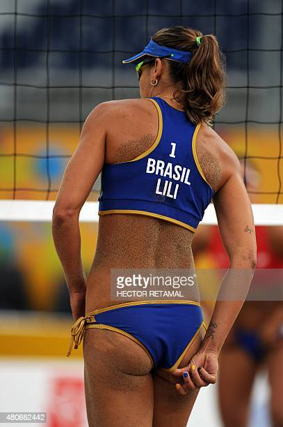 Brazilian player Liliane Maestrini during the Women's Beach Volleyball Preliminary against Chile at the 2015 Pan American Games in Toronto Canada on...