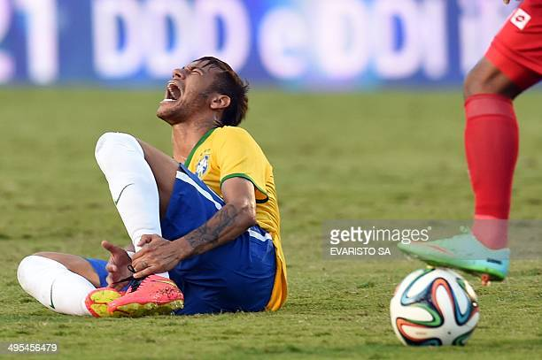 Brazilian player Neymar screams after a fault during a friendly match against Panama as preparation for FIFA World Cup Brazil 2014 at Serra Dourada...