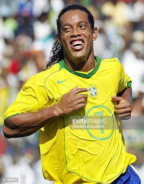 Brazilian player Ronaldinho Gaucho celebrates a goal during the Match of Peace against Haitian national soccer team in Puerto Principe 18 August 2004...