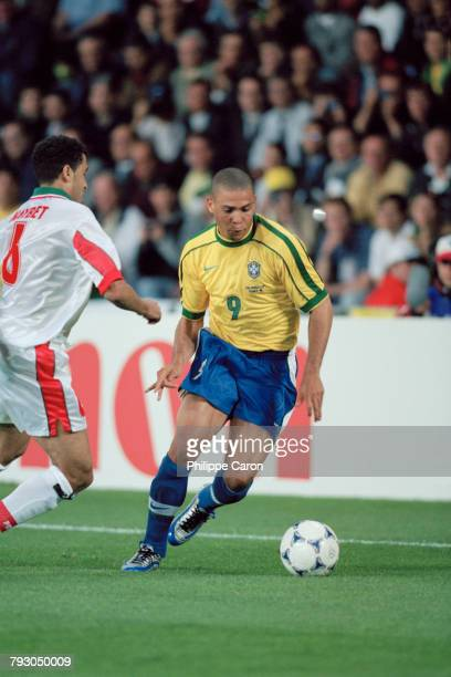 Brazilian player Ronaldo during the 1998 soccer World Cup match against Morocco