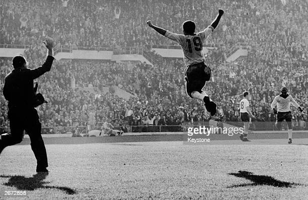 Brazilian player Zito celebrates scoring the second goal for Brazil during the 1962 World Cup final in Santiago Chile Brazil beat Czechoslovakia 31