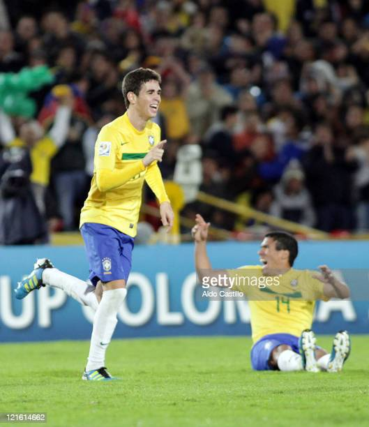 Brazilian players celebrate their victory after the FIFA U20 World Cup 2011 final between Brazil and Portugal at Estadio Nemesio Camacho 'El Campin'...