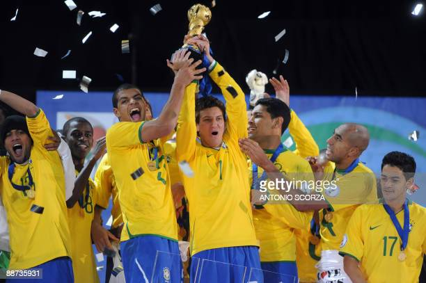 Brazilian players celebrate with the trophy after the Fifa Confederations Cup final football match United States vs Brazil on June 28 2009 at the...