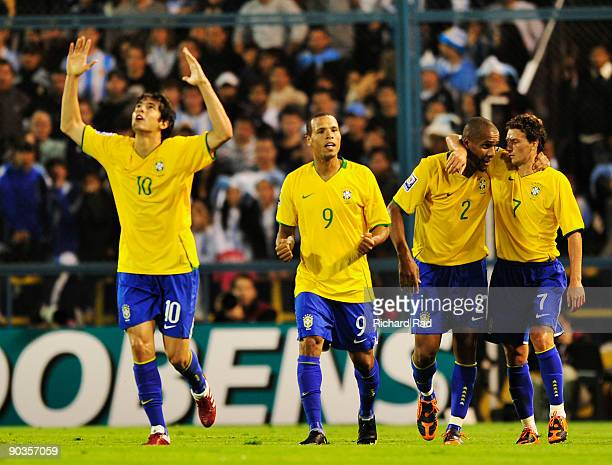 Brazilian players Kaka, Luis Fabiano, Maicon and Elano celebrate a goal against Argentina in a 2010 FIFA World Cup qualifier at the Gigante de...