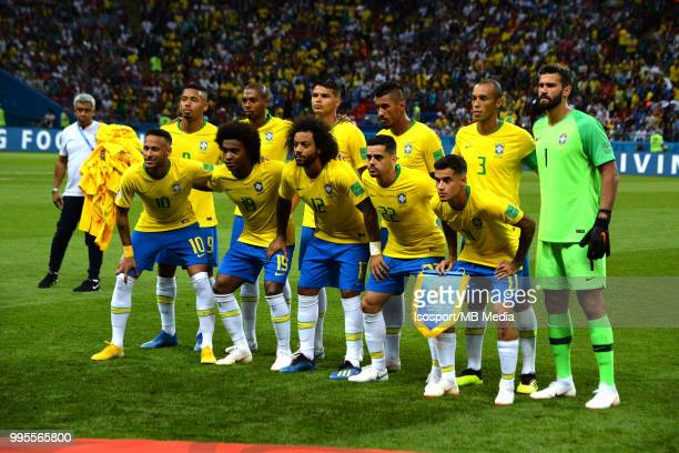 Brazilian players pose for a team picture before the 2018 FIFA World Cup Russia Quarter Final match between Brazil and Belgium at Kazan Arena on July...
