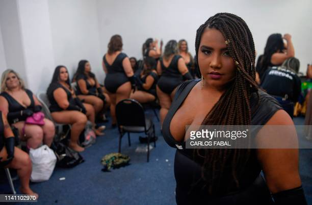 Brazilian plus-size model Thayanne Oliveira poses for a portrait before the Deusa Plus Size beauty pageant, as part of the Sexy Fair in Rio de...