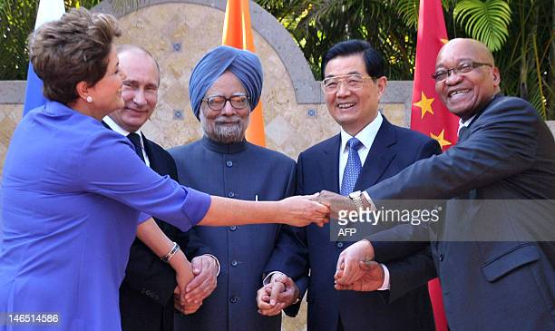 Brazilian President Dilma Roussef Russian President Vladimir PutinIndian Prime Minister Manmohan Singh Chinese President Hu Jintao and South African...