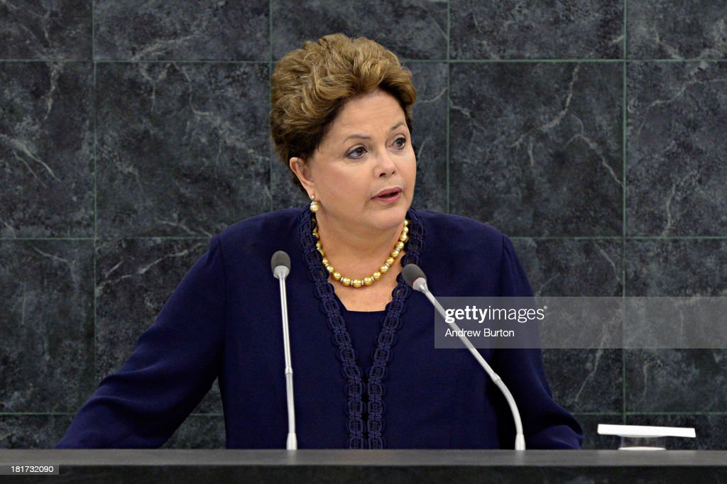 Brazilian President Dilma Roussef speaks at the 68th United Nations General Assembly on September 24, 2013 in New York City. Over 120 prime ministers, presidents and monarchs are gathering this week at the U.N. for the annual meeting.