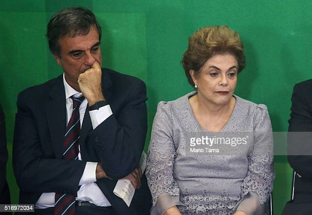 Brazilian President Dilma Rousseff and Attorney General Jose Eduardo Cardozo attend a meeting with supporters from the legal community at the...