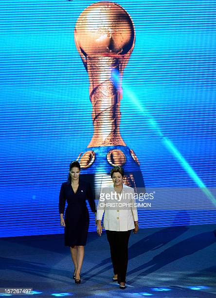 Brazilian President Dilma Rousseff arrives on stage in Sao Paolo on December 1st 2014 during the draw for next June's eightnation Confederations Cup...