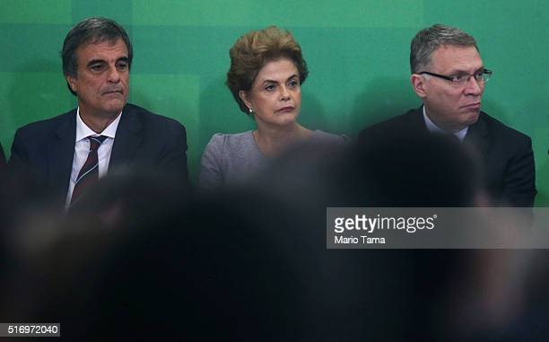 Brazilian President Dilma Rousseff Attorney General Jose Eduardo Cardozo and Justice Minister Eugenio Aragao attend a meeting with supporters from...
