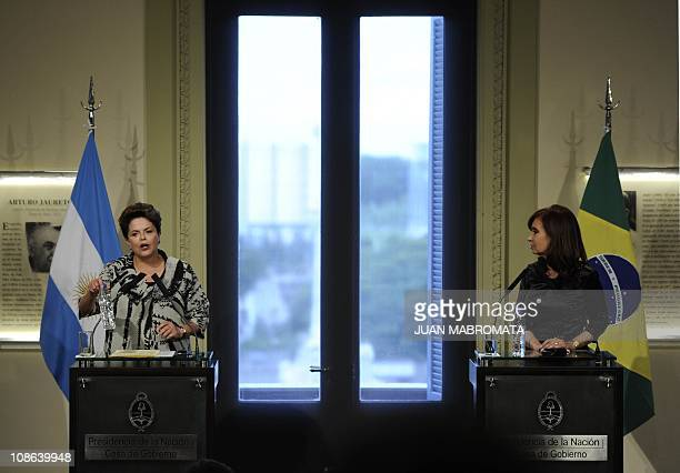 Brazilian President Dilma Rousseff delivers a speech next to Argentine President Cristina Kirchner during press conference after a working meeting at...