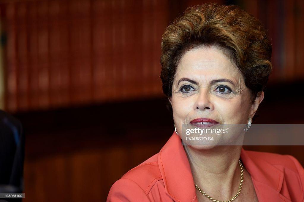 BRAZIL-FRANCE-ROUSSEFF-FABIUS-COP21 : News Photo