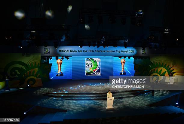 Brazilian President Dilma Rousseff gives a speech during the draw for next June's Confederations Cup Brazil 2013 a dress rehearsal for the 2014 World...