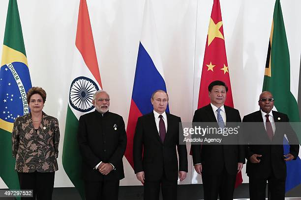 Brazilian President Dilma Rousseff Indian Prime Minister Narendra Modi Russian President Vladimir Putin Chinese President Xi Jinping and South...