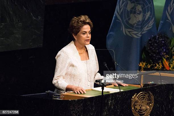Brazilian President Dilma Rousseff offers her remarks to the General Assembly Leaders from around the world gathered in General Assembly Hall at UN...