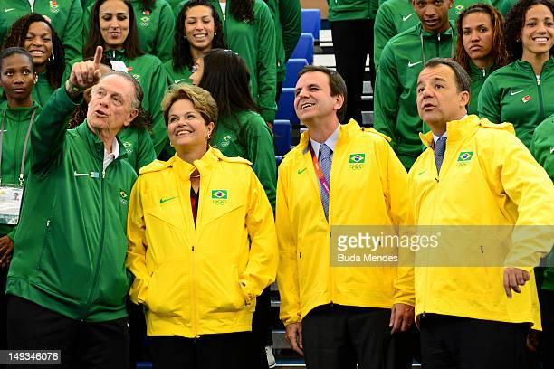 Brazilian President Dilma Rousseff with Carlos Arthur Nuzman, President of Rio 2016 and the Brazilian Olympic Committee, Eduardo Paes, Major of Rio...