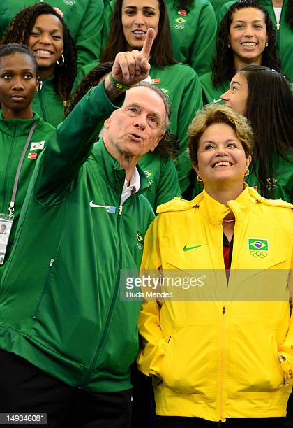 Brazilian President Dilma Rousseff with Carlos Arthur Nuzman, President of Rio 2016 and the Brazilian Olympic Committee and athletes during a visit...
