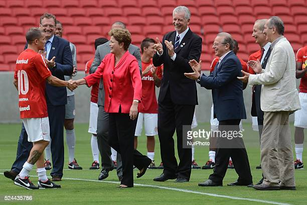 Brazilian President Dilma Roussell officially opened the Beira Rio stadium in Porto Alegre which will host the 2014 World Cup