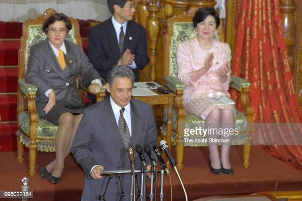 Brazilian President Fernando Henrique Cardoso addresses at an Upper House plenary session at the Diet building on March 14 1996 in Tokyo Japan