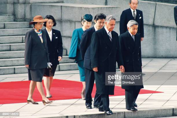 Brazilian President Fernando Henrique Cardoso and his wife Ruth Cardoso are escorted by Emperor Akihito and Empress Michiko during the welcome...