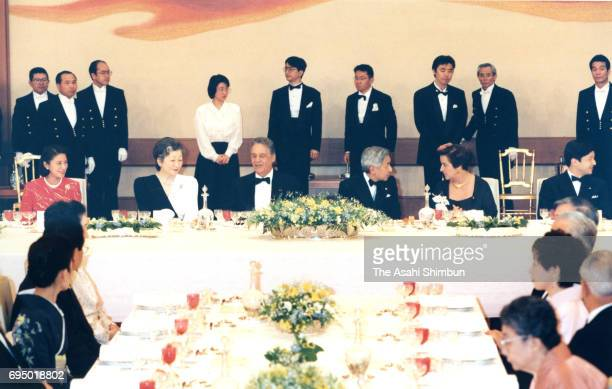 Brazilian President Fernando Henrique Cardoso and his wife Ruth Cardoso talk with Emperor Akihito and Empress Michiko during the state dinner at the...
