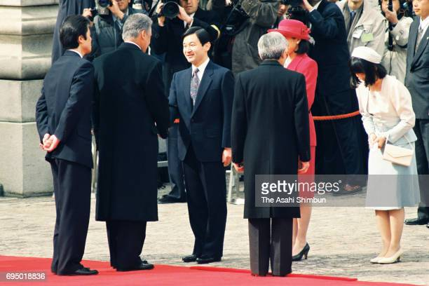 Brazilian President Fernando Henrique Cardoso is introduced Crown Prince Naruhito Crown Princess Masako and Princess Sayako by Emperor Akihito during...