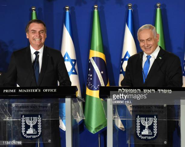 Brazilian President Jair Bolsonaro and Israeli Prime Minister Benjamin Netanyahu speak during a joint press conference at the prime minister's...
