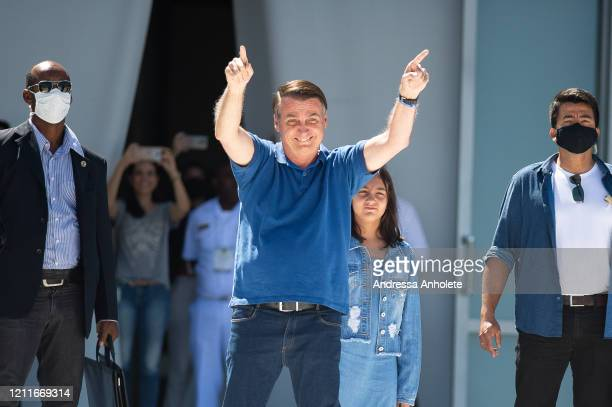 Brazilian President Jair Bolsonaro participates in a protest against the National Congress and the Supreme Court amidst on the coronavirus pandemic...
