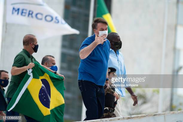 Brazilian President Jair Bolsonaro participates in a protest against the National Congress and the Supreme Court amidst the coronavirus pandemic at...