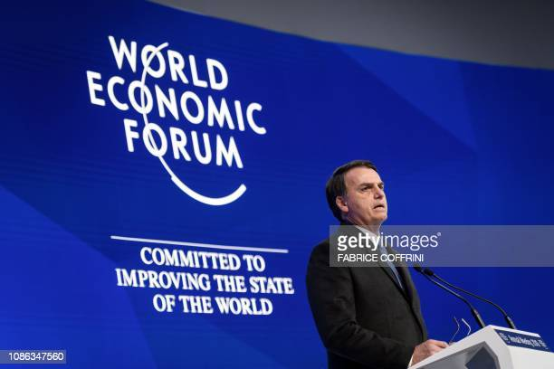 Brazilian President Jair Bolsonaro speaks during a keynote address to the World Economic Forum annual meeting on January 22 2019 in Davos eastern...