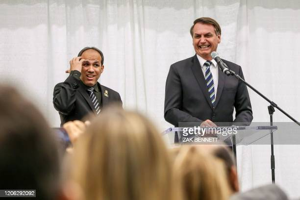 Brazilian President Jair Bolsonaro speaks during an event at Miami's Brazilian community at Miami Dade College's Medical Campus in Miami Florida on...