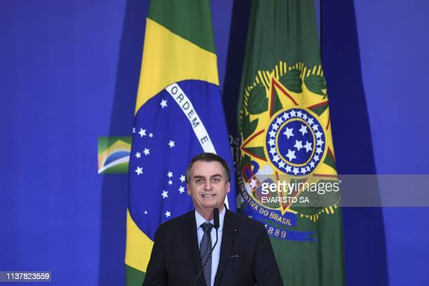 Brazilian President Jair Bolsonaro speaks during Easter celebrations at Planalto Palace in Brasilia on April 17 2019