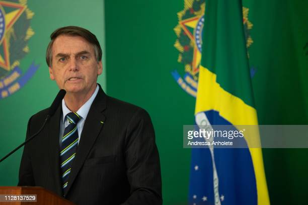 Brazilian President Jair Bolsonaro speaks with the press after meeting with venezuelan opposition leader and selfdeclared iterim president Juan...
