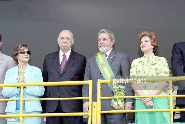 Brazilian President Luiz Inacio Lula da Silva and First Lady Marisa and VicePresident Jose Alencar and wife Mariza attend a military parade in the...