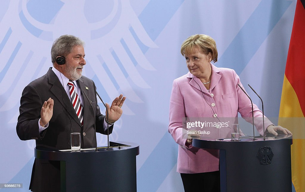 Brazilian President Luiz Inacio Lula da Silva and German Chancellor Angela Merkel speak to the media after talks on December 3, 2009 in Berlin, Germany. Ministers from the two countries signed a series of documents on mutual cooperation, including one aimed at supporting measures to reduce global warming.