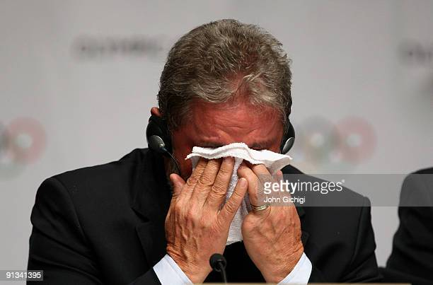 Brazilian President Luiz Inacio Lula da Silva cries at the contract signing ceremony after Rio De Janeiro won the vote to stage the 2016 Olympic...