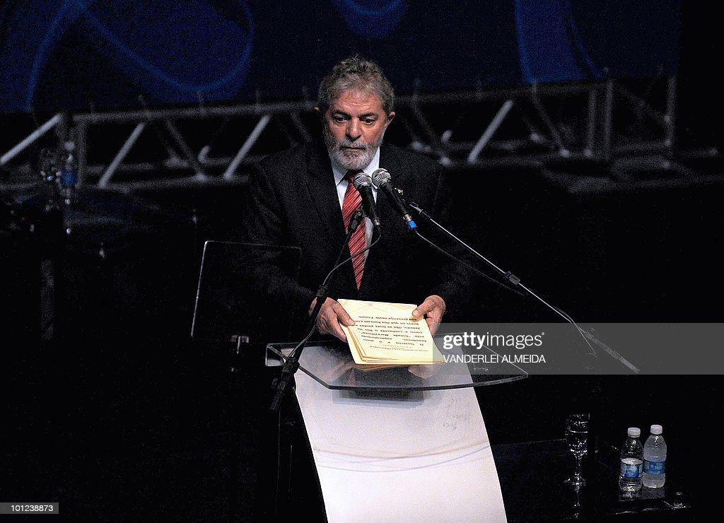 Brazilian president Luiz Inacio Lula da Silva discourses during the opening session of the Alliance of Civilizations Third Forum in Rio de Janeiro, Brazil 28 May, 2010.