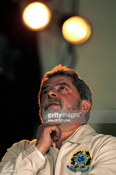 Brazilian president Luiz Inacio Lula da Silva gestures during a lunch organized by the ABC Metalworkers Union, in his political home town Sao...