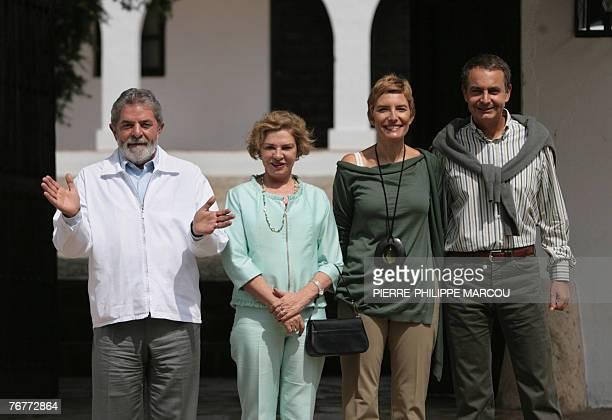 Brazilian President Luiz Inacio Lula da Silva Lula's wife Marisa Leticia Sonsoles Espinosa and her husband Spanish Prime Minister Jose Luis Rodriguez...