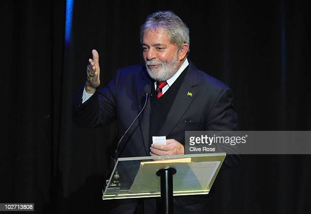 Brazilian President Luiz Inacio Lula da Silva speaks during the Launch Of 2014 FIFA World Cup Brazil Official emblem on July 8 2010 in Johannesburg...