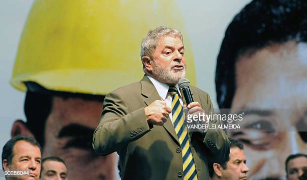 Brazilian President Luiz Inacio Lula Da Silva speaks during the diploma-giving ceremony of the Planseq in Rio de Janeiro on September 1st, 2009. AFP...