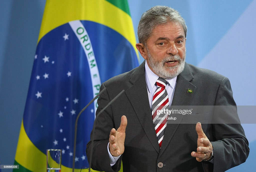 Brazilian President Luiz Inacio Lula da Silva speaks to the media after talks with German Chancellor Angela Merkel on December 3, 2009 in Berlin, Germany. Ministers from the two countries signed a series of documents on mutual cooperation, including one aimed at supporting measures to reduce global warming.