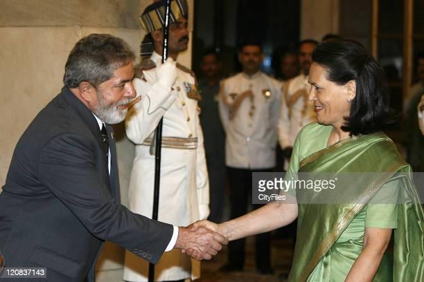 Brazilian President Luiz Inacio Lula da Silva statevisit to India in picture with Sonia Gandhi in New Delhi India on June 5 2007