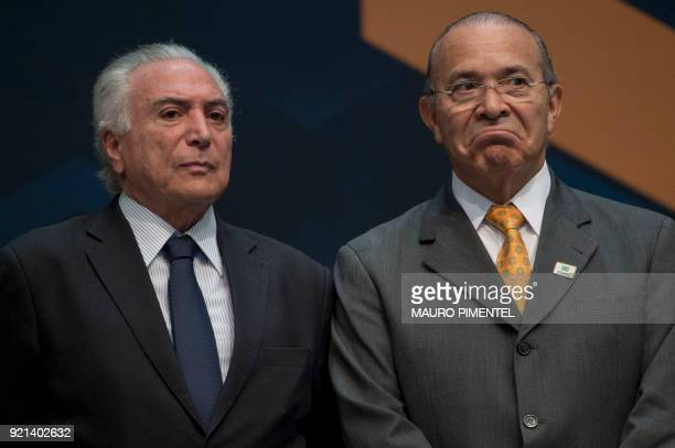 Brazilian President Michel Temer and Brazilian Minister Chief of Staff Eliseu Padilha attend an event to announce the beginning of the final stage of...