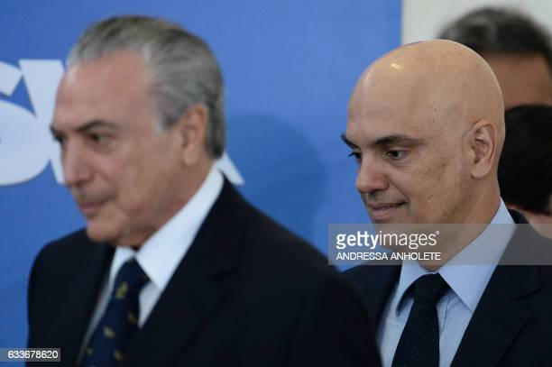 Brazilian President Michel Temer and Justice and Public Security Minister Alexandre de Moraes are pictured during the inauguration ceremony of the...