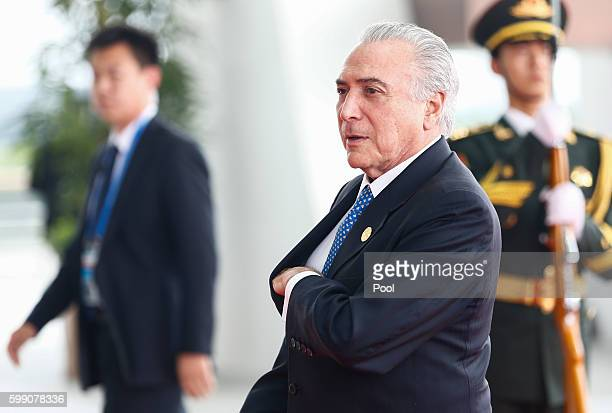 Brazilian President Michel Temer arrives at the Hangzhou International Expo Center on September 4 2016 in Hangzhou China World leaders are gathering...