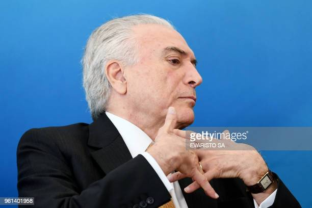 Brazilian President Michel Temer attends the launching event of a platform for the adherence to economic plans at the Planalto Palace in Brasilia on...