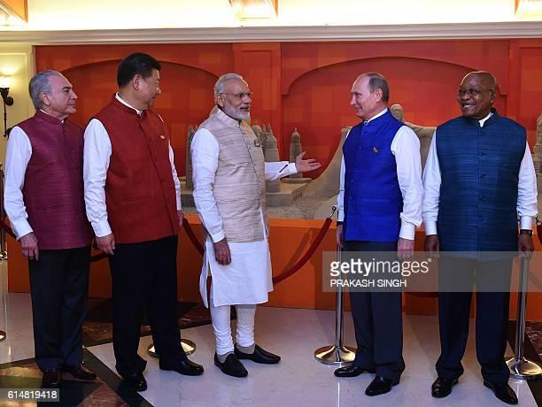 Brazilian President Michel Temer Chinese President Xi Jinping Indian Prime Minister Narendra Modi Russian President Vladimir Putin and South Africa...